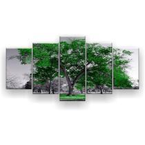Kit Placa Decorativa Mosaico 5 Pçs Árvore Grande Verde Bandeira - Império Dos Quadros