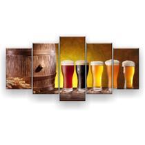 Kit Placa Decorativa Mosaico 5 Pçs Barril Cerveja Chopp - Império Dos Quadros