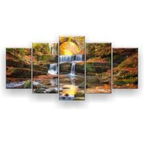 Kit Placa Decorativa Mosaico 5 Pçs Cachoeira na Mata - Império Dos Quadros