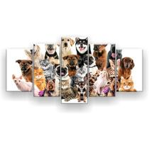 Kit Placa Decorativa Mosaico 5 Pçs Cães e Gatos Pets - Império Dos Quadros