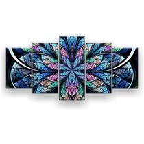 Kit Placa Decorativa Mosaico 5 Pçs Flor Simétrica Azul - Império Dos Quadros