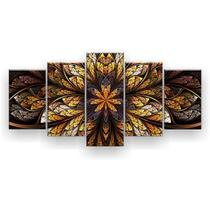 Kit Placa Decorativa Mosaico 5 Pçs Flor Simétrica - Império Dos Quadros