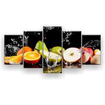 Kit Placa Decorativa Mosaico 5 Pçs Frutas na Água - Império Dos Quadros