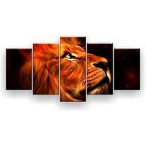 Kit Placa Decorativa Mosaico 5 Pçs Leão Perfil Aquarela - Império Dos Quadros