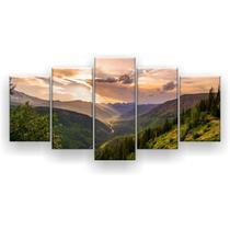 Kit Placa Decorativa Mosaico 5 Pçs Montanhas Raios Solares - Império Dos Quadros