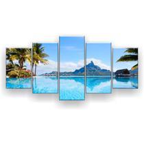 Kit Placa Decorativa Mosaico 5 Pçs Paisagem Bora Bora - Império Dos Quadros