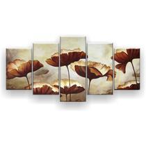 Kit Placa Decorativa Mosaico 5 Pçs Papoulas Aquarela - Império Dos Quadros