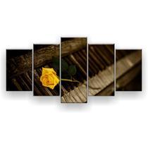 Kit Placa Decorativa Mosaico 5 Pçs Piano Rosa Amarela - Império Dos Quadros
