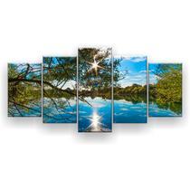 Kit Placa Decorativa Mosaico 5 Pçs Reflexo Céu Azul - Império Dos Quadros