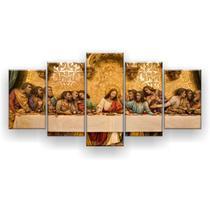 Kit Placa Decorativa Mosaico 5 Pçs Santa Ceia Dourada - Império Dos Quadros