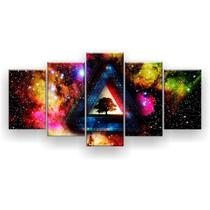 Kit Placa Decorativa Mosaico 5 Pçs Trippy Collor Psicodélico - Império Dos Quadros
