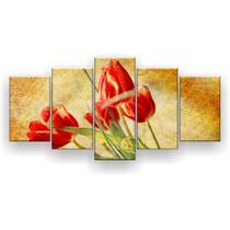 Kit Placa Decorativa Mosaico 5 Pçs Tulipas Vermelhas - Império Dos Quadros