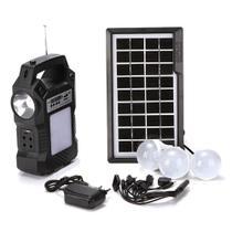 Kit placa solar 3 lâmpada rádio fm central com bateria lanterna - Ab Midia -