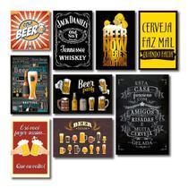 Kit Placas Decorativas Bebidas Frases Vintage Mdf- 9 Placas - Art Print