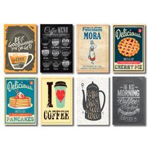 Kit Placas Decorativas Café Frases Cozinha Mdf - 8 Placas - Art Print