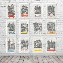 Kit Placas Decorativas Coleção Completa Grandes Cidades Turísticas KPD-004 - Arte Com Mdf