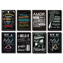 Kit Placas Decorativas Frases Cozinha Amor Mdf - 8 Placas - Art Print
