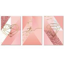 Kit Placas Quadros Decorativos 3 pçs MDF 20x30 Formas Rosa - Arte Na Arte