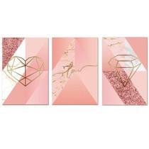 Kit Placas Quadros Decorativos 3 pçs MDF 30x45 Formas Rosa - Arte Na Arte