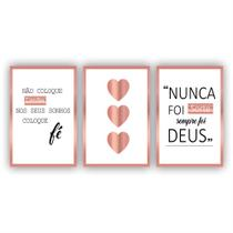 Kit Placas Quadros Decorativos Sala 3 Pçs 20x30 Religioso Nunca Foi Sorte - X4Adesivos