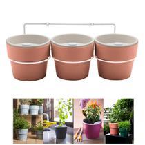 Kit Plantar 3 Vasos Autoirrigável Com Suporte Parede Flor Tempero - KT 2500 Ou -