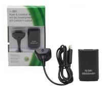 Kit play charge bateria recarregável xbox 360 68000mah e cabo carregador - 7Ez