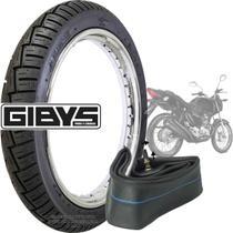 Kit pneu de moto traseiro cg titan fan 150 160 125 gibys 90/90-18 57p + câmara de ar roda 18 -