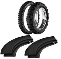 Kit Pneu Moto Cross Trilha 140/80-18 + 90/90-21 He42 Rinaldi
