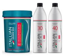 Kit Pó Descolorante Itallian Color Dust Free Profissional + Ox 30 e 40vol -