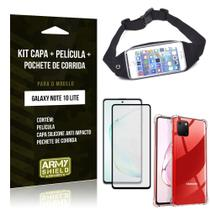 Kit Pochete Galaxy Note 10 Lite Pochete + Capinha Anti Impacto + Película de Vidro 3D - Armyshield -