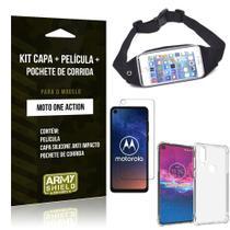 Kit Pochete Moto One Action Pochete + Capinha Anti Impacto + Película de Vidro - Armyshield -