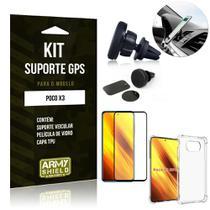 Kit Poco X3 Suporte Veicular Magnético + Capa Anti Impacto + Película Vidro 3D - Armyshield -