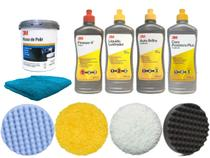 Kit Polimento 3M Completo Massa + Ceras+4 Boinas + Microfibra - 3M / Sherwin-Williams