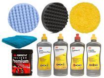 Kit Polimento 3M Massa 1KG + Finesse-It + Liquido Lustrador + Auto Brilho + Cera + 3 Boina + Flanela - 3M / SHERWIN-WILLIAMS