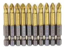 Kit Pontas Bit Antiderrapante Ph2 50mm Titânio 10 Pçs Ctpohr - Ctphor