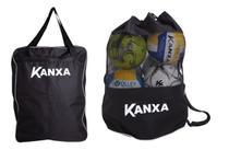 Kit Porta Bola Preto Futebol Bolsa Sacola Material Fardamento Futsal Volei Basquete Original Kanxa -
