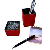Kit porta caneta clips vermelho escritório organizador mesa - Apparatos
