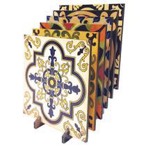 Kit porta copos Decorado MDF Impermeável Litoarte  KPCL-001 Azulejos -
