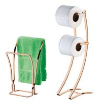 Kit Porta Papel Higiênico Duplo Chão + Porta Toalha De Rosto Duplo Rose Gold - Future -