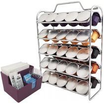 Kit Porta Sachês Guardanapos Açúcar Porta Cápsulas Nespresso Cromado com Purple - Zanline