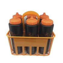 Kit Porta Squeeze Laranja com 6 Squeeze c/ logo preto laranja Rythmoon -