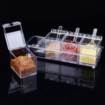 Kit Porta Temperos E Condimentos Em Acrilico Com Colher Para Cozinha - Crystal Box