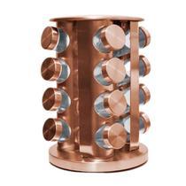 Kit Porta Temperos Giratório Suporte Com 16 Potes Rose Gold Vertical Moderno - Toc Chef