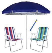 Kit Praia 2 Cadeira Alta Alumínio + Guarda Sol 2,6m Azul Alum + Saca Areia - Mor -
