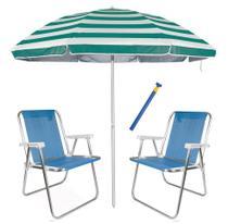 Kit Praia 2 Cadeira Alta Sannet alum + Guarda Sol 2,6m Listrado Alum + Saca Areia - Mor -