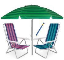 Kit Praia 2 Cadeira Reclinável 8 Pos Alum + Guarda Sol 2,4m + Saca areia - Mor -