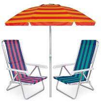 Kit Praia 2 Cadeira Reclinável 8 Pos Alumínio + Guarda Sol 2m Sombreiro Alum - Mor -