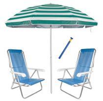 Kit Praia 2 Cadeira Reclinável 8 Pos Sannet Alum + Guarda Sol 2,6m + Saca Areia - Mor -