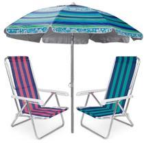 Kit Praia 2 Cadeira Reclinável 8 Posições Alumínio + Guarda Sol 2m Sombreiro Alum - Mor -