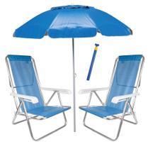 Kit Praia 2 Cadeira Reclinável Sannet Alum + Guarda Sol Bagum Alum + Saca Areia - Mor -